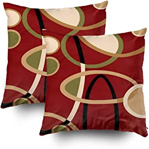 Capsceoll 2PCS cranberry red tan black geometric circle Decorative Throw Pillow Case 16X16Inch,Home Decoration Pillowcase Zippered Pillow Covers Cushion Cover with Words for Book Lover Worm Sofa Couch