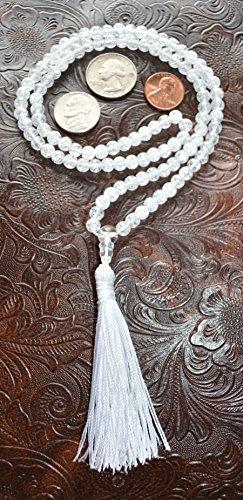 CRYSTAL QUARTZ RARE HIMALAYAN ICE NIRVANA QUARTZ APPROX. 8 MM 108+1 BEADS PRAYER JAPA MALA NECKLACE (SAFTIK SPHATIK SPATIK)-BLESSED & ENERGIZED HINDU TIBETAN BUDDHIST PRAYER KARMA BEADS SUBHA ROSARY MALA FOR NIRVANA, BHAKTI, FOR REMOVING INNER DOSHAS, FOR CHANTING AUM OM, FOR AWAKENING CHAKRAS, KUNDALINI THROUGH YOGA MEDITATION-FREE OM MALA POUCH INCLUDED - USA SELLER