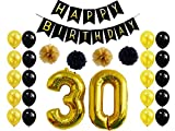 30th Birthday Party Decoration,Happy Birthday Banner ,30th Gold Balloon For 30th Party Supplies