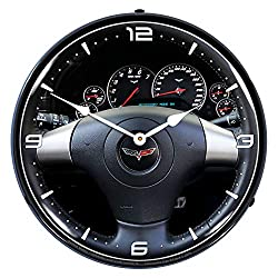 C6 Corvette Dash LED Wall Clock, Retro/Vintage, Lighted, 14 inch