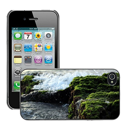 Stampato Modelli Hard plastica Custodie indietro Case Cover pelle protettiva Per // M00421747 Waves pierres Moss nautiques Côte Shore // Apple iPhone 4 4S 4G