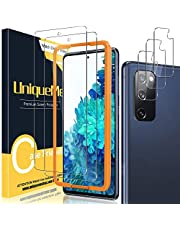 [2+3 Pack] UniqueMe Compatible for Samsung Galaxy S20 FE 5G/4G 6.5 inch Screen Protector and Camera Lens Protector [Easy Installation Frame] [Anti-Scratch] 9H Tempered Glass