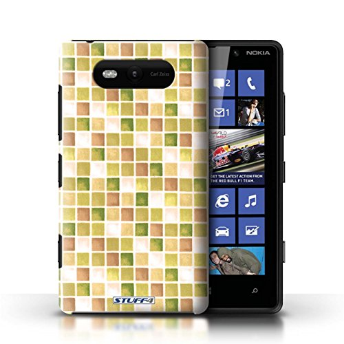 Etui / Coque pour Nokia Lumia 820 / Jaune/Marron conception / Collection de Carreau Bain