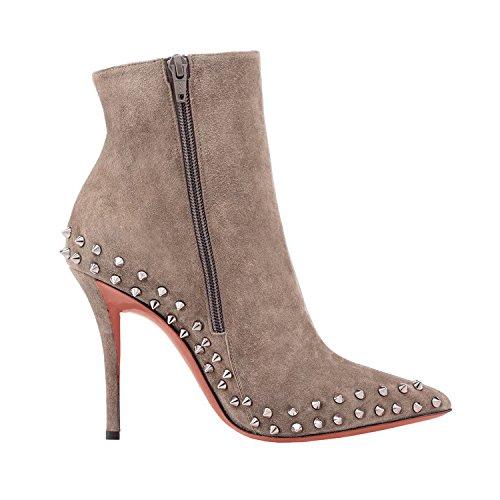 Arc-en-Ciel zapatos de las mujeres del ante tachonado la bota del tobillo del tacón alto Gris