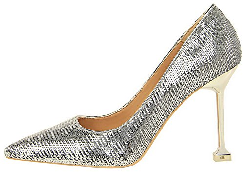 Heels AgooLar Pointed Closed Women's Solid Sequins On Shoes Court Silver High Pull Toe 4nrq0wnBRH