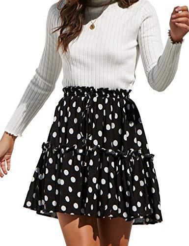 Relipop Women's Flared Short Skirt Polka Dot Pleated Mini Skater Skirt with Drawstring Black