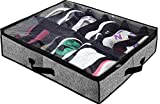Homyfort Under Bed Shoe Storage Organizer for Closet, Shoe Container Box Bedding Storage with Front Zippered Closure and Clear Cover (12 Pairs), Black with Pattern