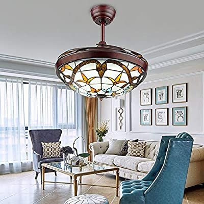 "Sweety House 42"" Ceiling Fan with dimmable LED Lighting and Remote Control Retractable Invisible Fan Chandelier Chandelier for Living Room Bedroom Lighting Decorative Chandelier"