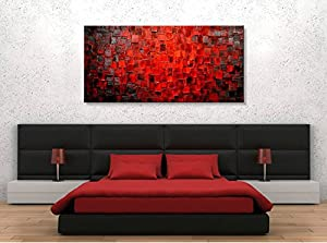 ... Painted Large Oil Painting Texture Red Abstract Canvas Wall Art Decor Modern  Contemporary Stretched Artwork Framed Ready To Hang For Bedroom Living Room