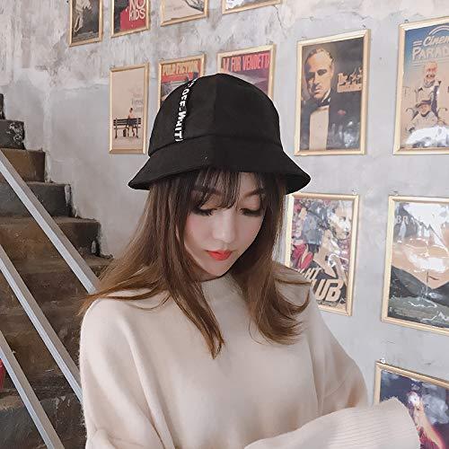 streets influx people men women hat cap ribbon personalized letters corduroy bucket hats dome spring fashion (black