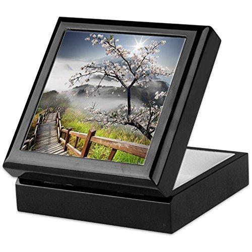 Cherry Keepsake Box - CafePress - Japanese Cherry Landscape - Keepsake Box, Finished Hardwood Jewelry Box, Velvet Lined Memento Box