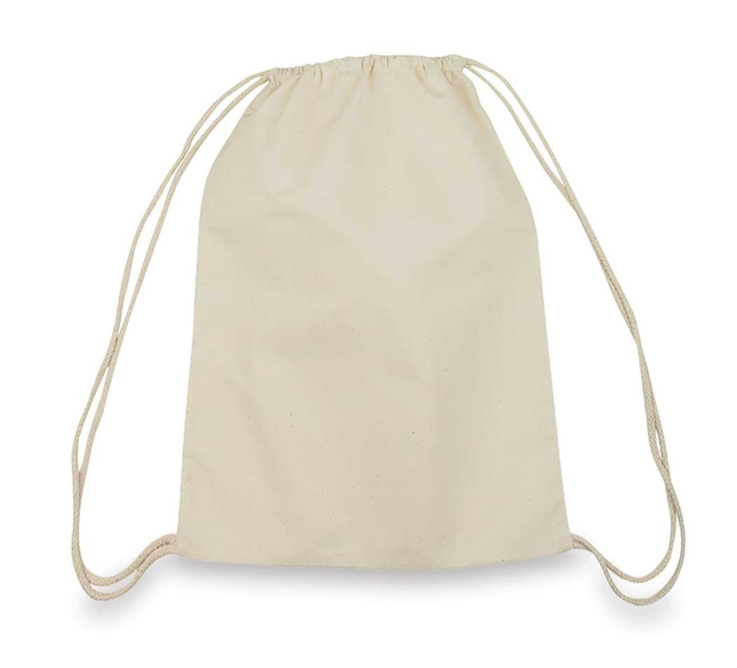 Drawstring Bag Backpack Sack Made of Cotton in Natural White (Wholesale Pack of 3)