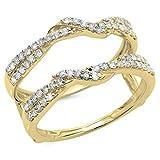 0.55 Carat (ctw) 14K Yellow Gold Round Diamond Ladies Wedding Swirl Guard Double Ring 1/2 CT (Size 7)