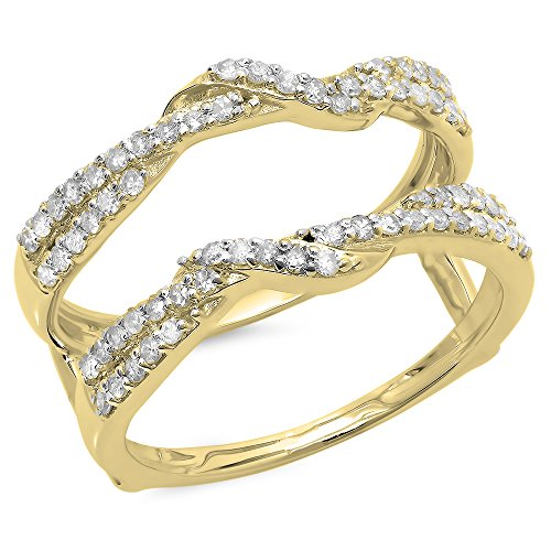 0.55 Carat (ctw) 14K Yellow Gold Round Diamond Ladies Wedding Swirl Guard Double Ring 1/2 CT (Size 7) by DazzlingRock Collection