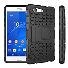 "Xperia Z3 Compact Case, ANGELLA-M Built-in Kickstand Hybrid Armor Case Detachable 2in1 Shockproof Tough Rugged Dual-Layer Cover Case for Sony Xperia Z3 Compact 4.6"" Black"