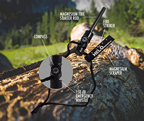 HeloFire Survival Magnesium Fire Starter with Compass and Whistle [All in One] Lights Up to 15,000 Times