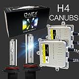 O-NEX H4 9003 Canbus HID Conversion Kit AC 55W Slim Ballast Super Bright Xenon Headlight Bulb 6000K Crystal White