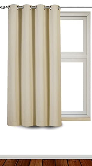 Blackout, Room Darkening Curtains Window Panel Drapes   (Beige Color) 1  Panel,