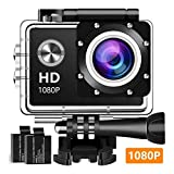 Action Camera, 12MP 1080P 2 Inch LCD Screen, Waterproof Sports Cam 120 Degree Wide Angle Lens, 30m Sport Camera DV Camcorder with with 2 Rechargeable Batteries and Mounting Accessories Kit 1080T03