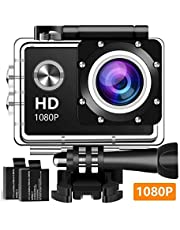 Action Camera, 12MP 1080P 2 Inch LCD Screen, Waterproof Sports Cam 120 Degree Wide Angle Lens, 30m Sport Camera DV Camcorder with with 2 Rechargeable Batteries and Mounting Accessories Kit XJ31002
