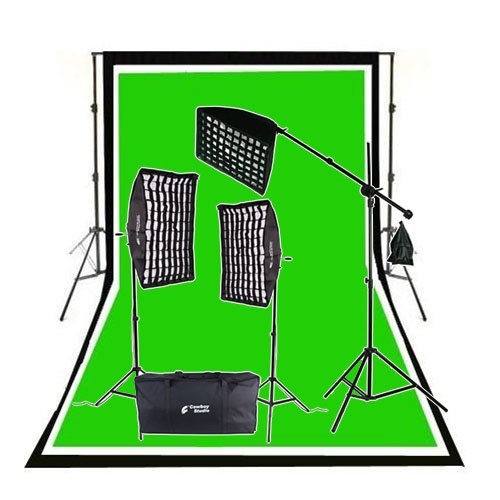 CowboyStudio 2000 Watt Photo Studio Lighting Grid Softbox Video Light Kit Boom Set, Background Support, 10 feet x 12 feet Black White Chromakey Green 3 Muslin Backdrops (X Light 12 10 Box)