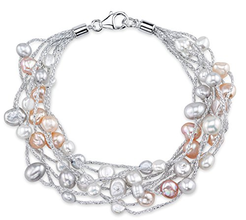 - THE PEARL SOURCE 4-5mm Genuine Multicolor Freshwater Cultured Pearl Lilly Bracelet for Women
