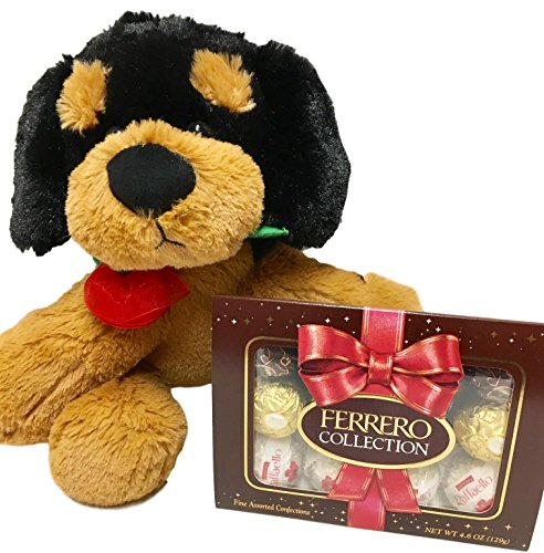 Plush Brown Puppy With Red Rose and Ferrero Rocher Collection Chocolate Candy - Valentine, Birthday, Get Well Gift