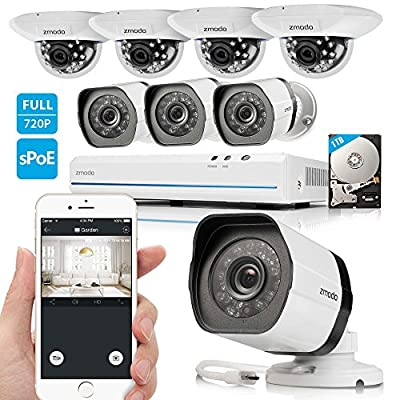 Zmodo 8CH 720P HD Network Security Camera System with 4x Outdoor + 4x Indoor Dome Surveillance Camera 1TB Hard Drive by Zmodo