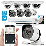 Zmodo 8CH 720P HD Network Security Camera System with 4x Outdoor + 4x Indoor Dome Surveillance Camera 1TB Hard Drive
