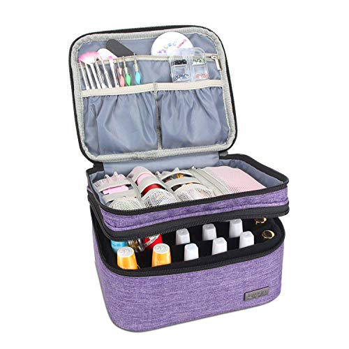 Luxja Nail Polish Carrying Case - Holds 20 Bottles (15ml - 0.5 fl.oz) or 30 Bottles (7ml - 0.27 fl.oz), Portable Organizer Bag for Nail Polish and Manicure Set, Purple (Nail Polish Organizer Case)