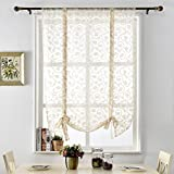 "NAPEARL Voile Sheer Panel Tie up Curtain Rod Pocket (42"" Wx63 L, Beige)"