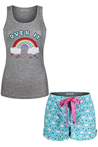 SofiePJ Women's Cotton Printed Knit Tank Top Short Pants Pajama Set Gray Aqua L ()