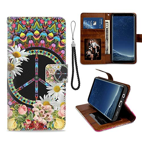 Samsung Galaxy S8 Phone Wallet Case Floral Peace Sign TPU Leather Flip Cover with Card Slot Wallet Case for Samsung Galaxy S8