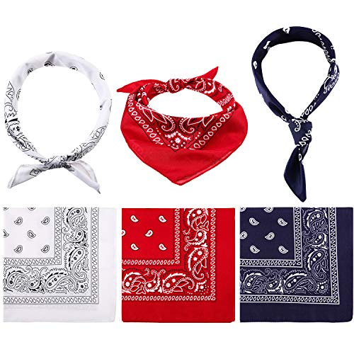6 Pieces Paisley Bandanas Unisex Cowboy Bandanas Novelty Print Head Wrap Scarf Wristband Party Bandanas for Adult and Kids (Red, Navy and White) ()