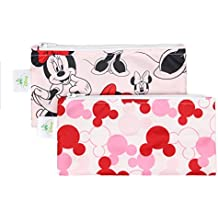 Bumkins Disney Baby Reusable Snack Bag Small 2 Pack, Minnie Mouse (Classic/Icon)