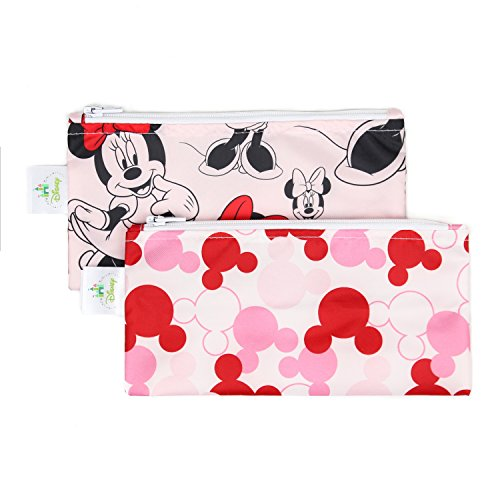 Bumkins Disney Minnie Mouse Snack Bags, Reusable, Washable, Food Safe, BPA Free, 2-Pack