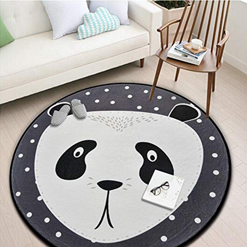 White Grey Cartoon Animals Bear Fox Panda Round for Living Room Bedroom Home Decor Carpet Rug Children Kids Soft Play Mat