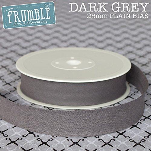 25m Roll Of 25mm Plain Bias Binding Dark Grey Trim Tape Trimming Frumble Fabric
