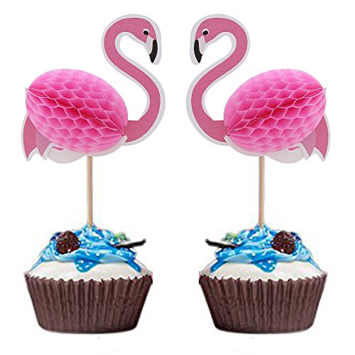 Joinor-24pcs-3D-Flamingo-Cupcake-Muffin-Topper-Picks-Cake-Decoration-Baby-Shower-Birthday-Party-Favors-Wedding-Cake-Decor