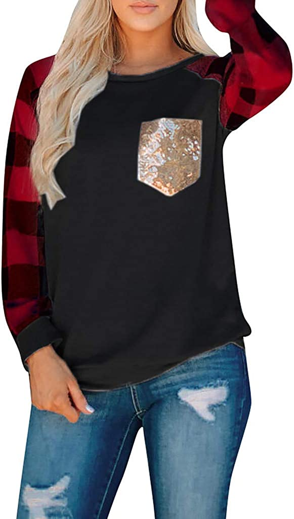 RUIVE Women/'s Crew Neck Blouse Plaid Print Sequins Splicing Pockets Basic Shirt Ladies Patchwork Tops