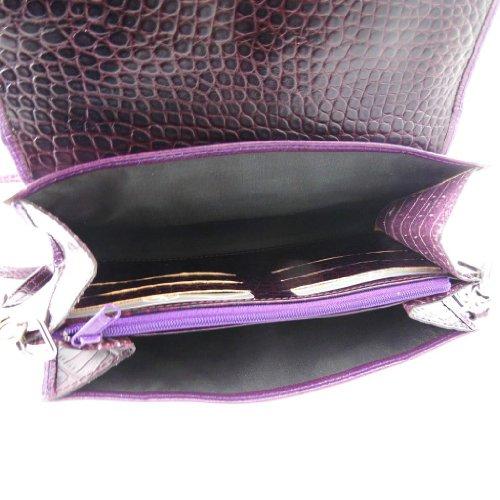 Leder-etui tasche Frandi violett (york / croco) (2 faltenbalg). V5sVmh