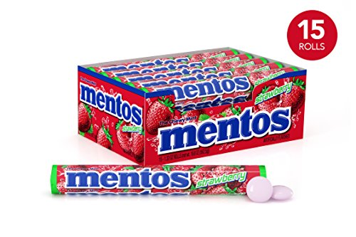 Mentos Chewy Mint Candy Roll, Strawberry, Party, Non Melting, 1.32 ounce/14 Pieces (Pack of 15)