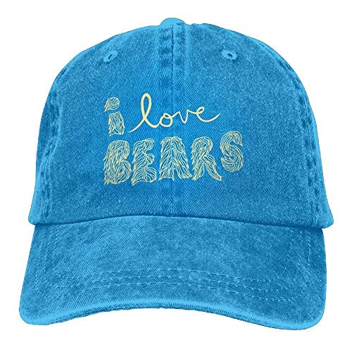 Walnut Cake Gorras béisbol I Love Bear Word Denim Hat Adjustable Women's Surf Baseball Caps