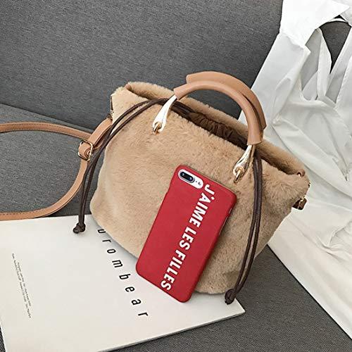 Borse Per White Donna Pacchetto Tracolla Tracolla Pelle Borsa color Haxibkena Peluche Brown In A xzw6x7qX