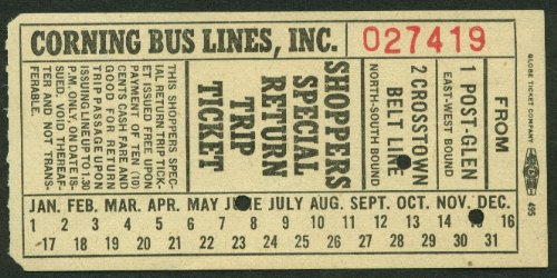 A-line Shopper - Corning Bus Lines Shoppers Special Return Trip Ticket Corning NY undated