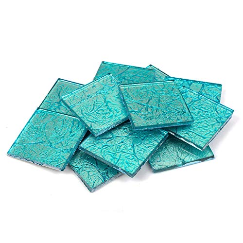 Large Mosaic Tiles - Milltown Merchants™ 1.8 inch (48mm) Blue Foil Mosaic Tile - Bulk Aqua Mosaic Tiles - 3 Pound (48 oz) Tile Assortment for Backsplash, Murals, Stepping Stones, and Mosaics