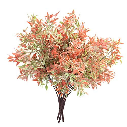 Fall Flowers - ATOFUL Artificial Fake Flowers-Plastic Faux Plants Leaves Arrangements for Indoor/Outdoor Decorations, Wedding, Party, Home, Videos or MV (Red)