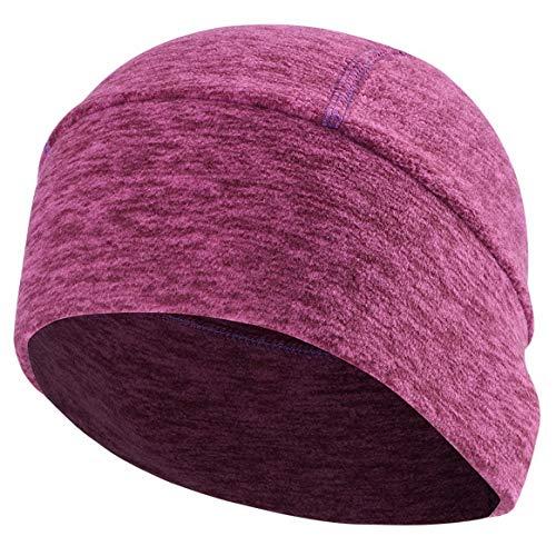 (ChinFun Skull Cap Helmet Liner Cycling Caps Running Beanie Winter Thermal Fleece Winter Hats Fits Under Helmets Men Women Youth Heather Purplish Red)
