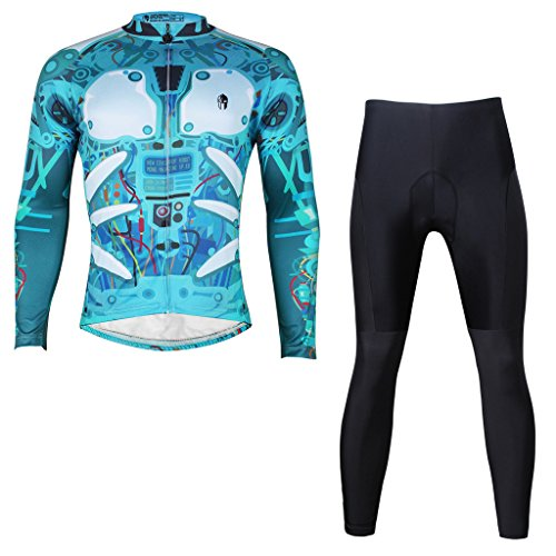 Paladinsport Autumn Men's Blue Long Sleeve Cycling Clothing 100% Polyester Bike Jersey And Pants Set Size 5XL