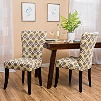 Kalee Yellow and Grey Print Fabric Dining Chair (Set of 2)